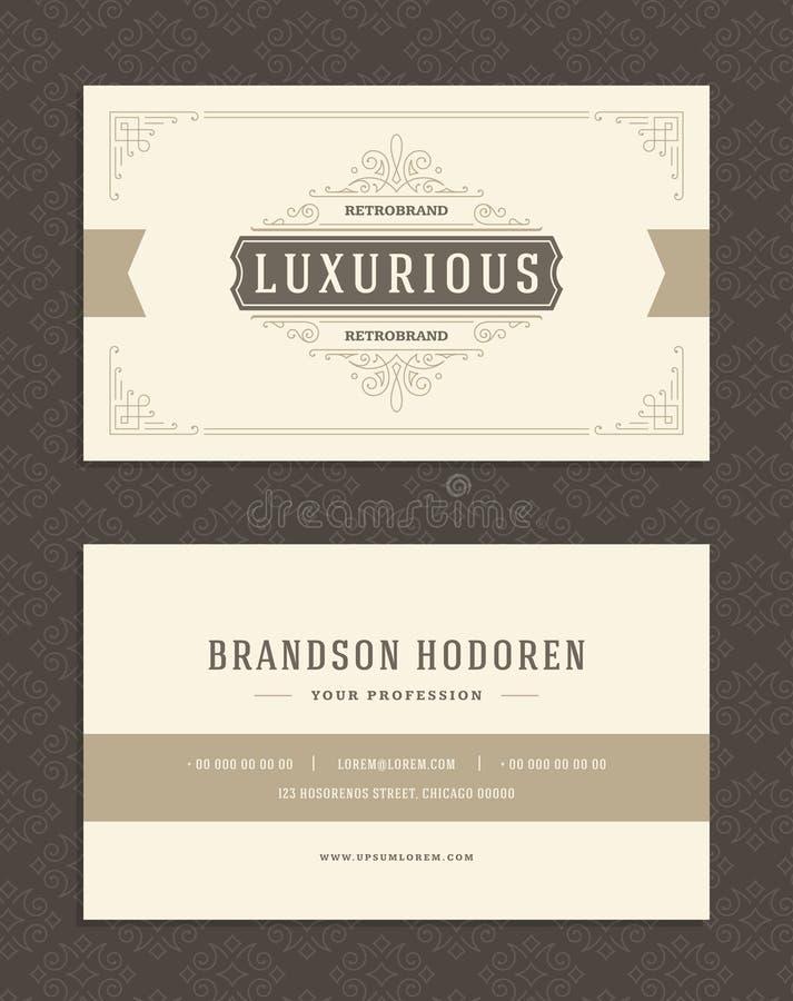 La tarjeta y el vintage de lujo de visita adornan la plantilla del vector del logotipo stock de ilustración