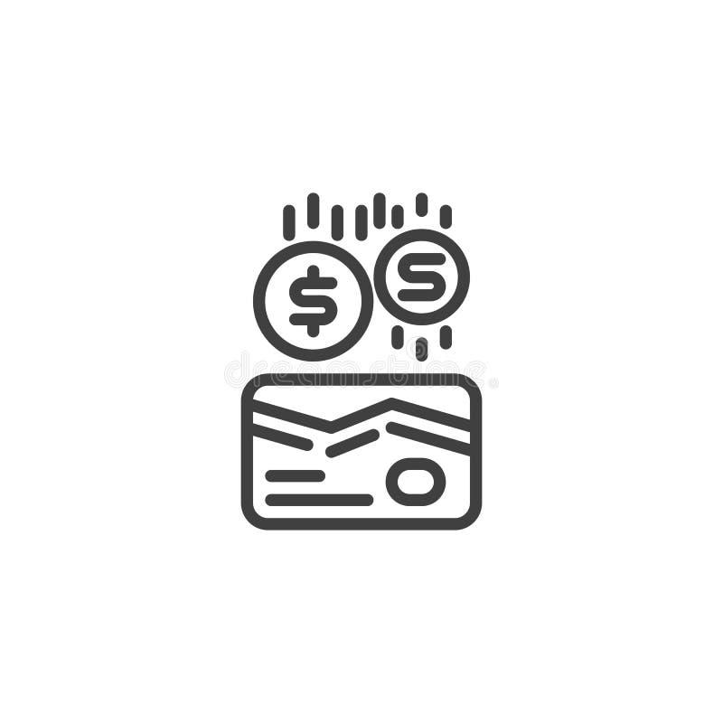 La tarjeta y las monedas de crédito alinean el icono libre illustration