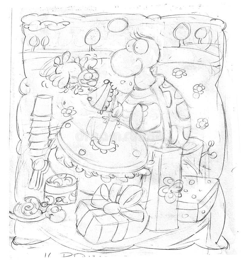 la tartaruga celebra nel parco con il dolce illustrazione di stock