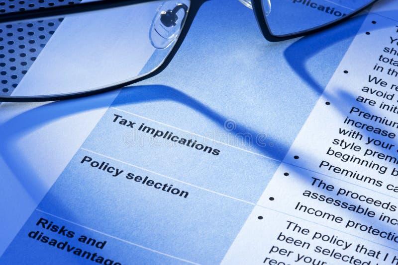 La tassa tassa la dichiarazione fotografia stock libera da diritti