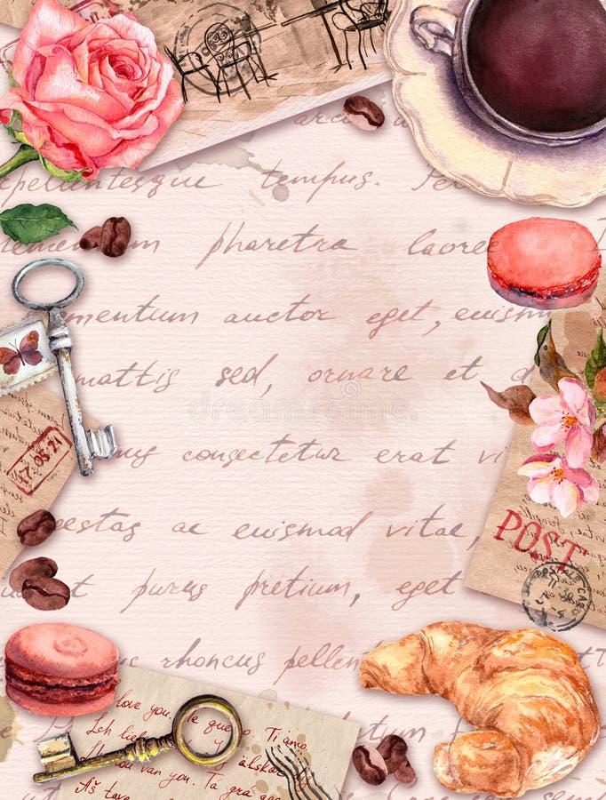 La tasse écrite par main de lettres, de café ou de thé, gâteaux de macaron, s'est levée des fleurs, timbres, clés Carte de cru, b illustration stock