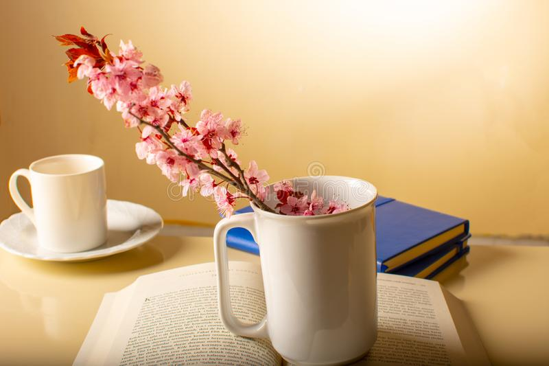 La tasse avec l'intérieur de fleur sur le livre ouvert images stock