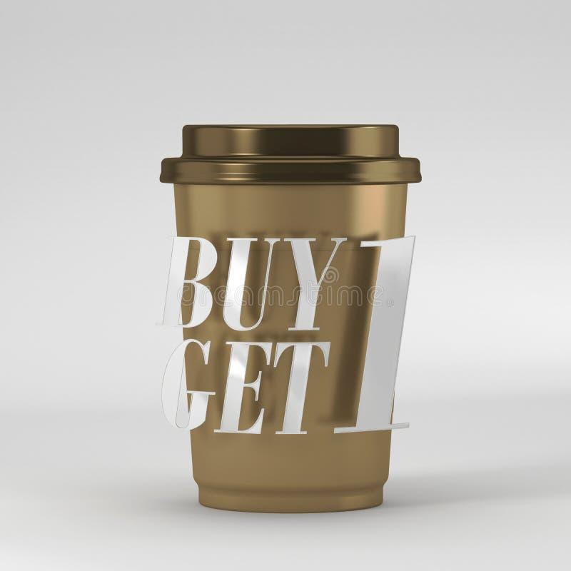 La tasse de café avec l'achat 1 de citation obtiennent 1 rendu 3D illustration stock