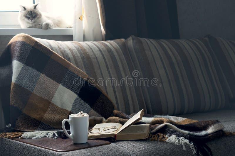La tasse de café chaud avec le livre de confiture d'oranges dirige la couverture sur le divan image libre de droits