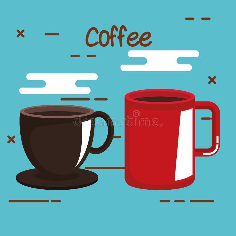 La tasse de café et la tasse rouge boivent chaud sur le fond bleu illustration libre de droits