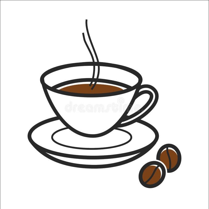 La tasse de café pour la destination de voyage du Cuba et le point de repère célèbre de culture dirigent l'icône illustration stock