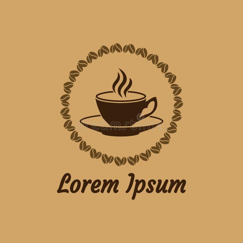 La tasse de coffe avec le saurce, le cadre des grains de café et la saveur dirigent l'icône illustration de vecteur