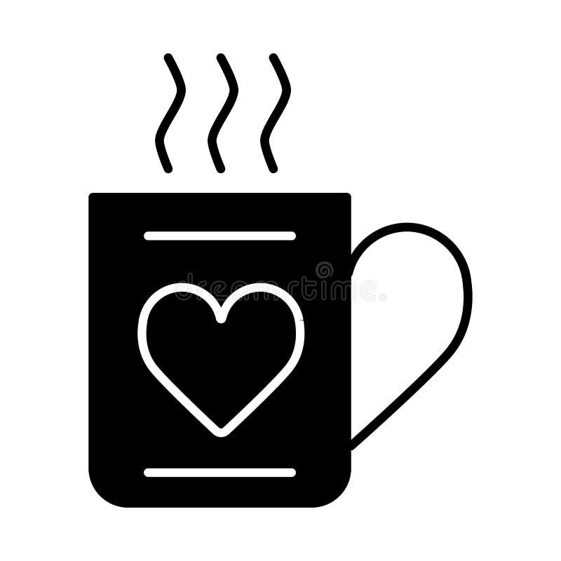 La tasse de l'icône chaude de boissons et de coeur dirigent, signe plat rempli, pictogramme solide d'isolement sur le blanc Jour  illustration de vecteur