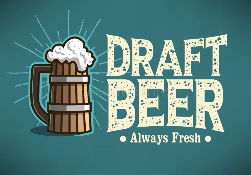 La tasse de Logo Label Design With Wooden de bière pression ou Tankard de soit illustration stock