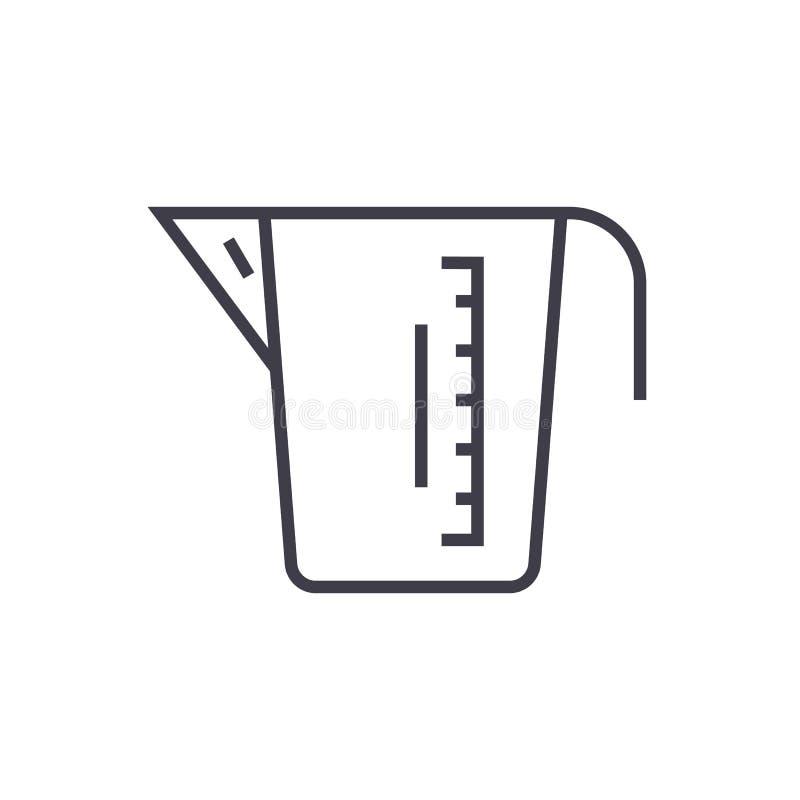 La tasse de mesure dirigent la ligne icône, le signe, illustration sur le fond, courses editable illustration de vecteur