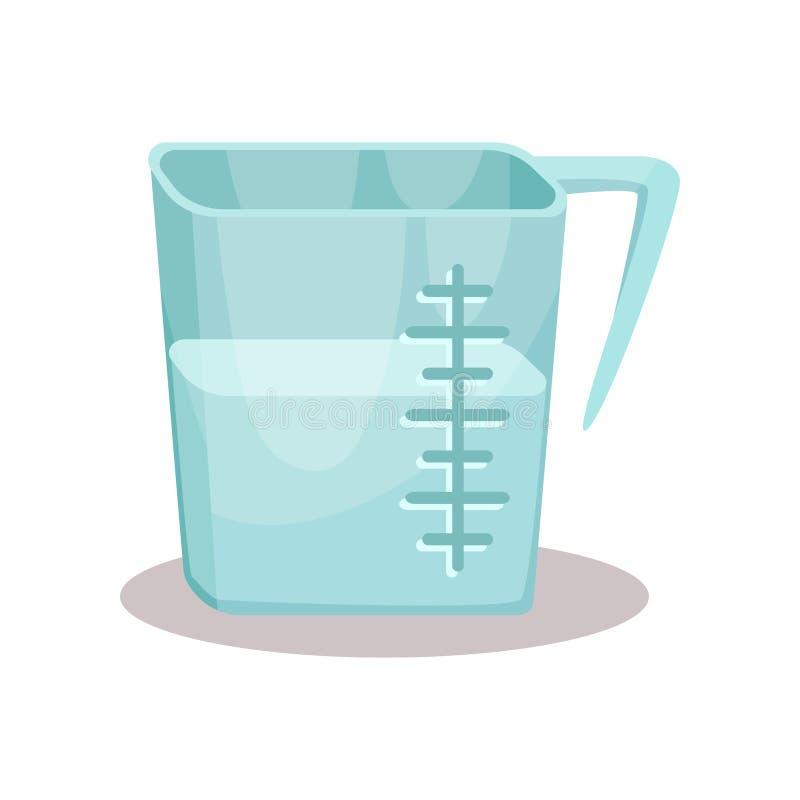 La tasse de mesure et la vaisselle de cuisine en verre dirigent l'illustration sur un fond blanc illustration de vecteur