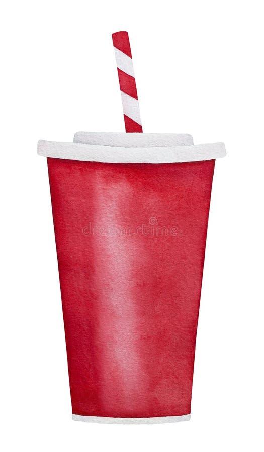 La tasse de papier de grande soude rouge à emporter classique avec la paille, préparent pour boire image stock
