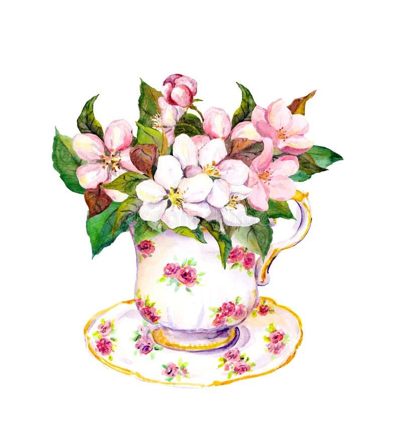 La tasse de thé avec le rose de fleur fleurit la cerise, pomme, Sakura watercolor illustration stock