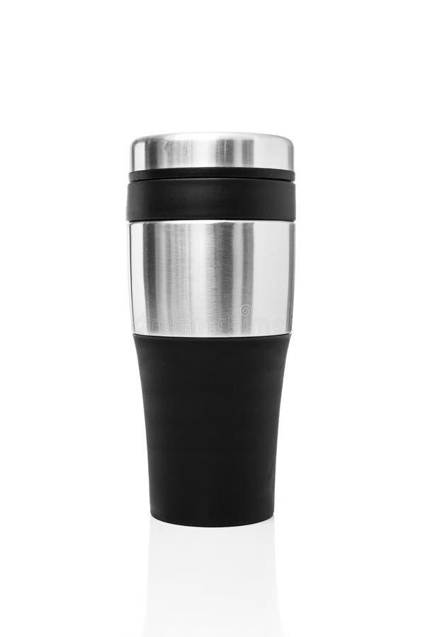 La tasse de thermos transformée à partir de l'aluminium pour l'eau chaude ou froide d'utilisation en photos stock
