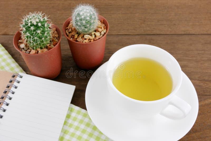 La tasse du thé vert japonais et de peu de cactus dans le pot d'usine et le petit carnet avec le tissu de coton vert images libres de droits