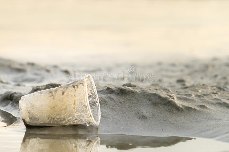 La tasse en plastique laissée sur la plage font la pollution images libres de droits