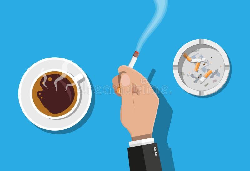 La tasse et le cendrier de café complètement de fume des cigarettes illustration stock