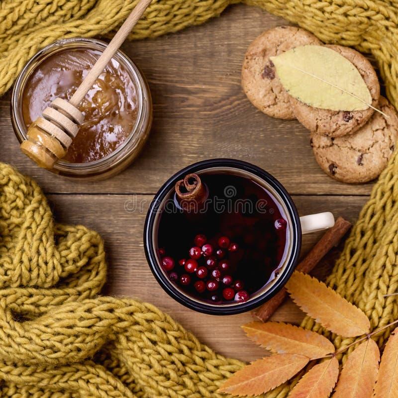 La tasse ou la tasse de Berry Tea With Yellow Warm chaud a tricoté la mer d'Autumn Cold de configuration d'appartement de vue sup image libre de droits