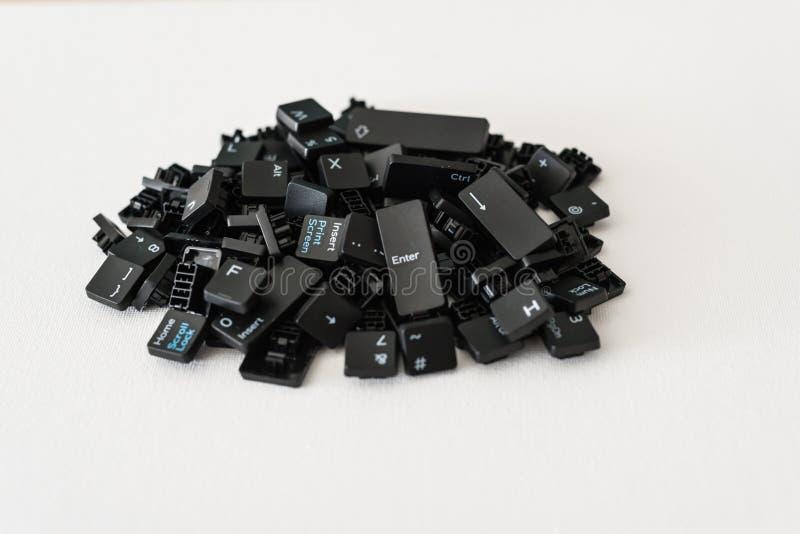 La tastiera abbottona tutti come pila e nel fondo neutrale fotografia stock