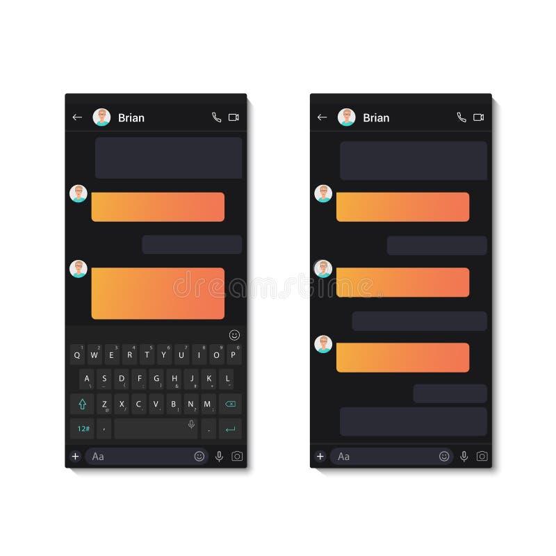 La tastiera mobile ed il testo di chiacchierata di app del whith scuro del modello chiacchierano le bolle Illustrazione di vettor royalty illustrazione gratis