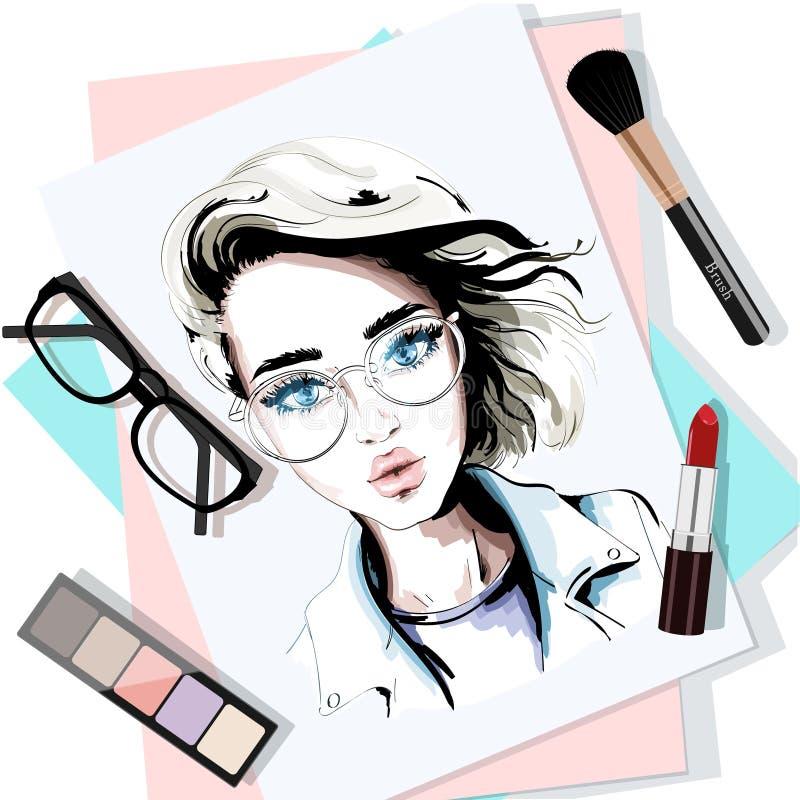 La tavola alla moda ha messo con il ritratto, le carte, il rossetto, gli occhiali, la spazzola e gli ombretti disegnati a mano de illustrazione di stock