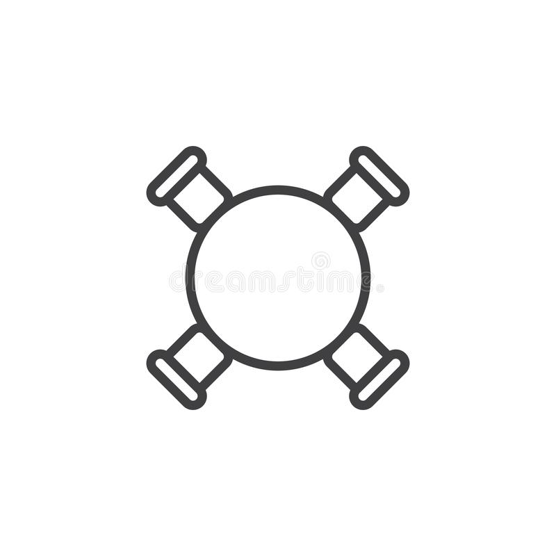 La tavola di cerchio e la vista superiore delle sedie descrivono l'icona royalty illustrazione gratis