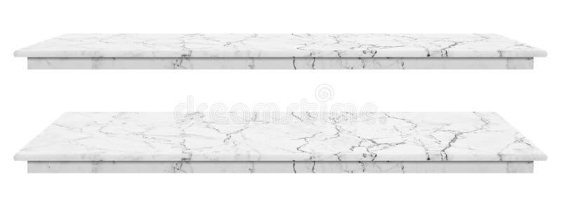 La tavola di marmo, superficie bianca del ripiano, lastra di pietra per i prodotti dell'esposizione isolati su fondo bianco ha pe illustrazione di stock