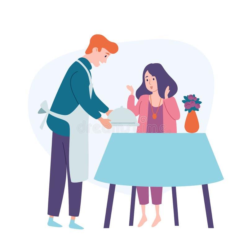 La tavola di servire dell'uomo, porta l'alimento alla sua donna d'alimentazione del marito della moglie Cena festiva di festa del illustrazione di stock
