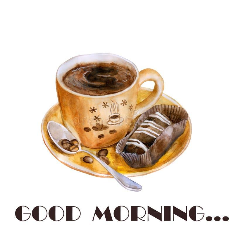 La taza caliente de la acuarela de café, brownie, torta, asó los granos de café y la cuchara exactos, dibujo detallado stock de ilustración