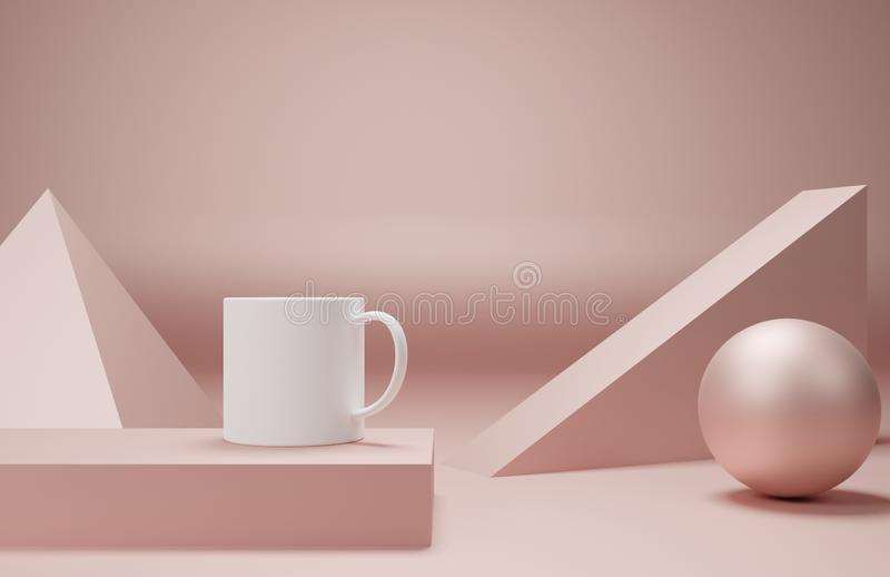 La taza de café de la colección de arte 3d rinde de se imagina con el objeto geométrico de la forma en color rosado enfoca adentr ilustración del vector