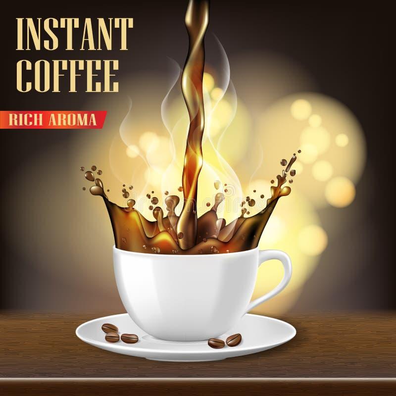 La taza de café del Arabica del aroma y los anuncios negros de las habas diseñan ejemplo 3d del producto caliente de la taza de c ilustración del vector