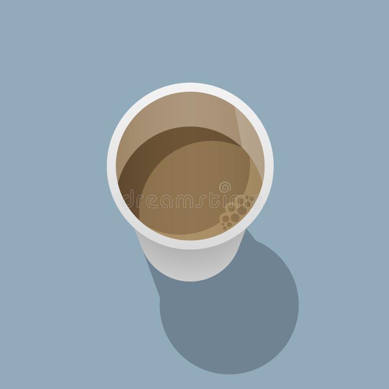 La taza de café disponible está en una superficie plana y echa una sombra en ella stock de ilustración