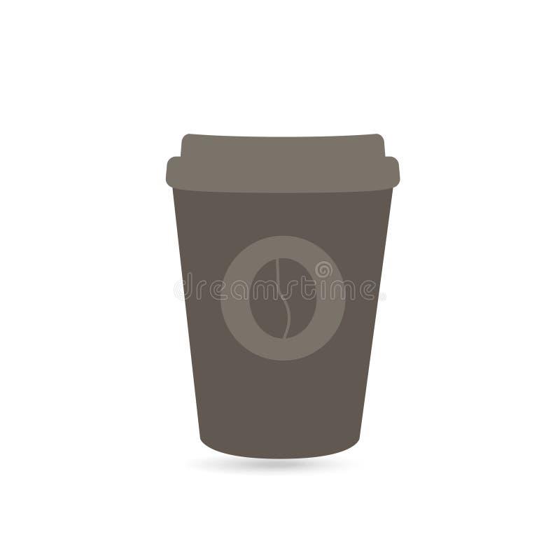La taza de café de papel se lleva el fondo blanco stock de ilustración