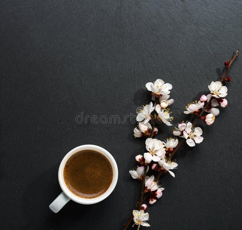 La taza de café y de primavera florece en la tabla de madera rosada imágenes de archivo libres de regalías