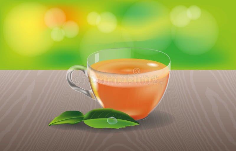 La taza de cristal con té y verde se va en una tabla de madera con un fondo abstracto Verde, marrón y naranja ilustración del vector