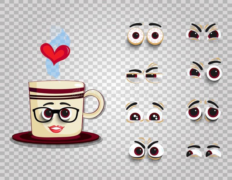 La taza de Emoji en vidrios con los ojos fijó para el carácter cómico de la creación stock de ilustración