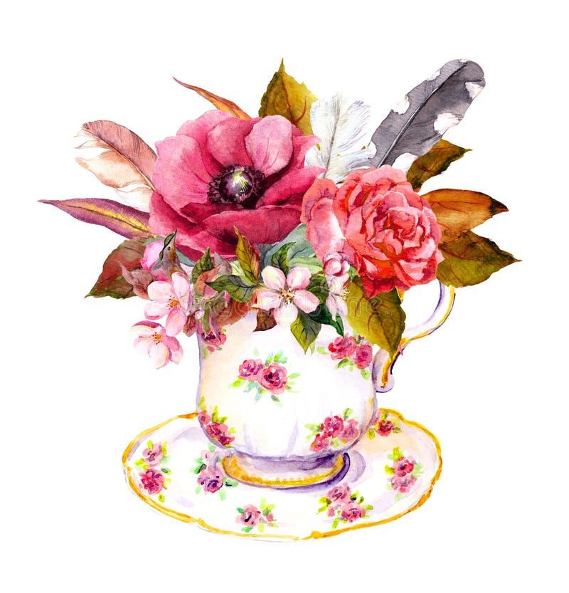 La taza de té con las flores color de rosa, vintage empluma Acuarela para el teatime libre illustration