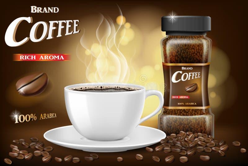 La taza del café instantáneo y los anuncios negros de las habas diseñan ejemplo 3d del producto caliente de la taza de café con e ilustración del vector
