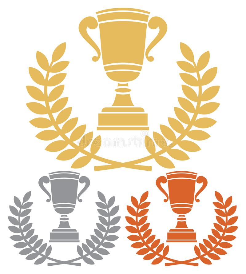 La taza del trofeo del oro, del bronce y de la plata con el laurel enrruella ilustración del vector