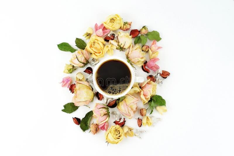 La taza, el rosa y la crema del café sólo secaron el ramo de las flores de las rosas en el fondo blanco fotos de archivo libres de regalías