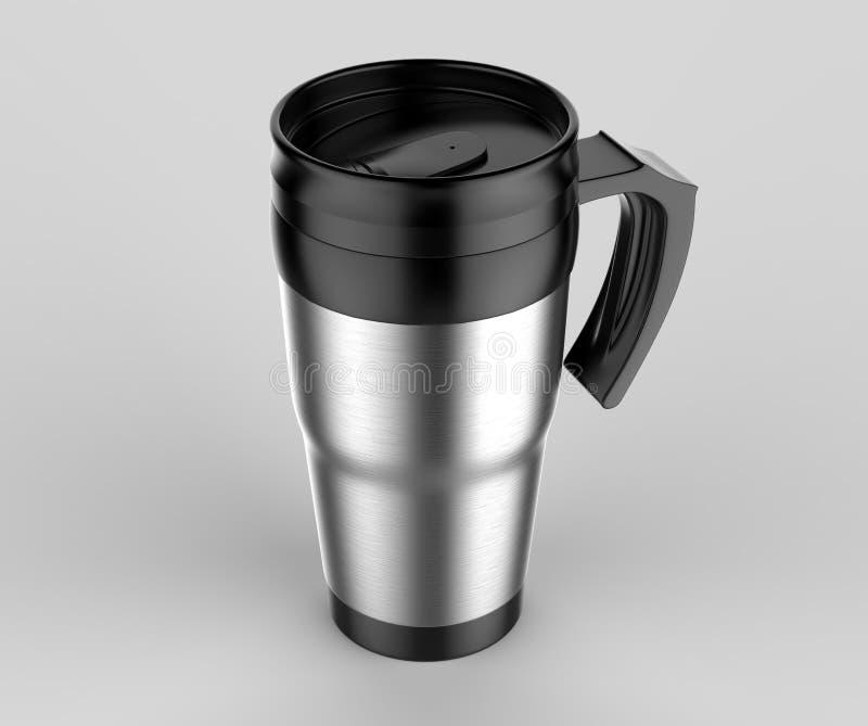 La taza en blanco del vaso del viaje del termo para la presentación del diseño o la mofa para arriba diseña 3d rinden la ilustrac imagen de archivo
