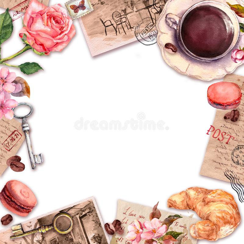 La taza escrita mano de las letras, del caf? o de t?, tortas de los macarrones, subi? las flores, sellos, llaves Tarjeta del vint fotos de archivo libres de regalías