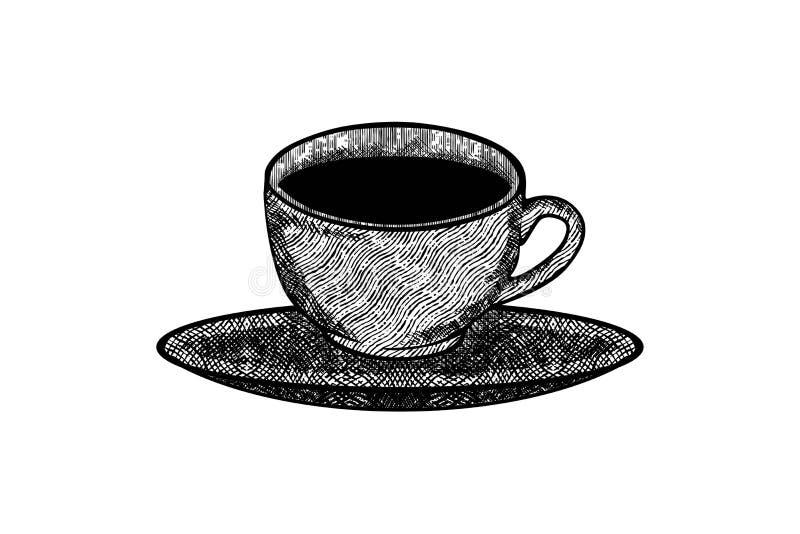 la taza exhausta de la mano, vidrio, logotipo de la taza de café diseña la inspiración aislado en el fondo blanco libre illustration