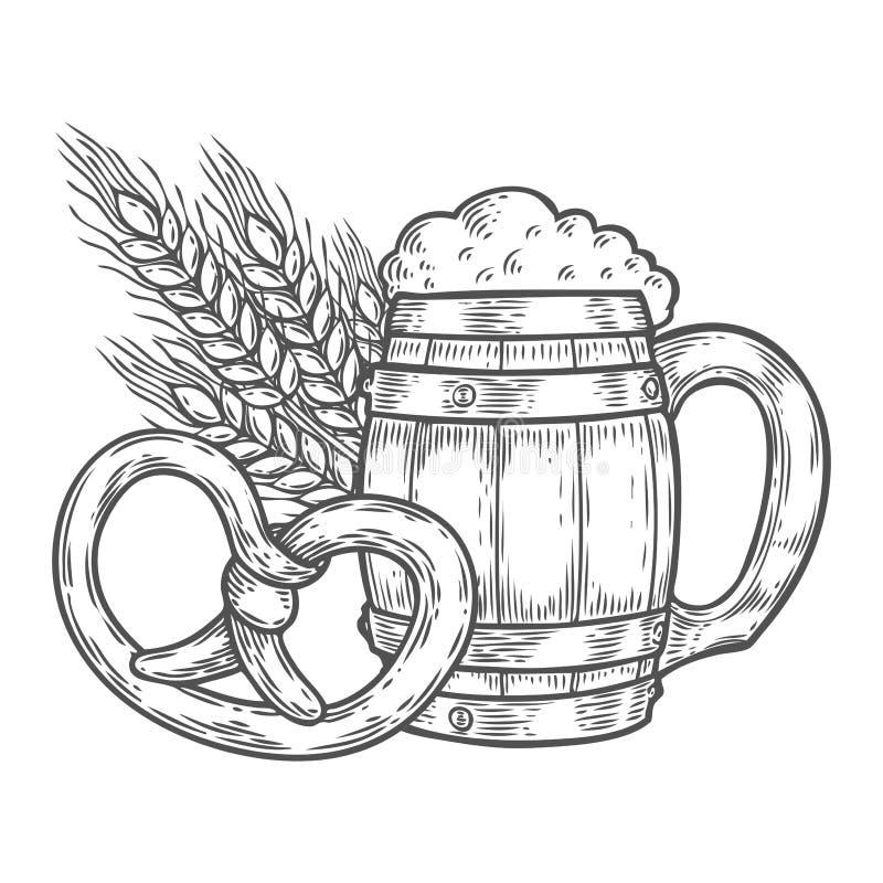 La taza más oktoberfest de la cerveza de madera del arte, pretzel, trigo Mano grabada vintage negro dibujada stock de ilustración