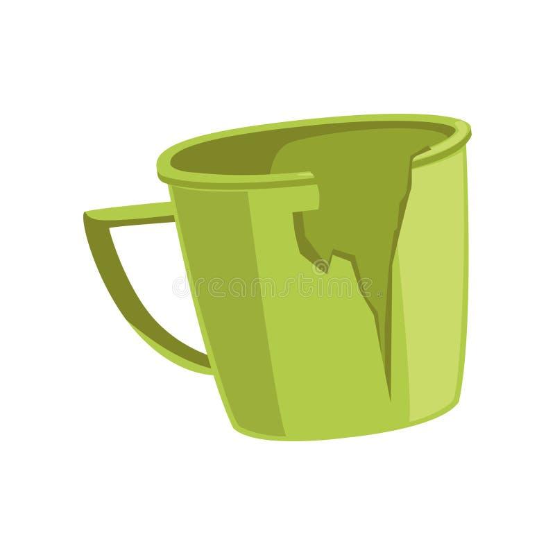 La taza verde quebrada, reciclando concepto de la basura, utiliza el ejemplo inútil del vector en un fondo blanco libre illustration