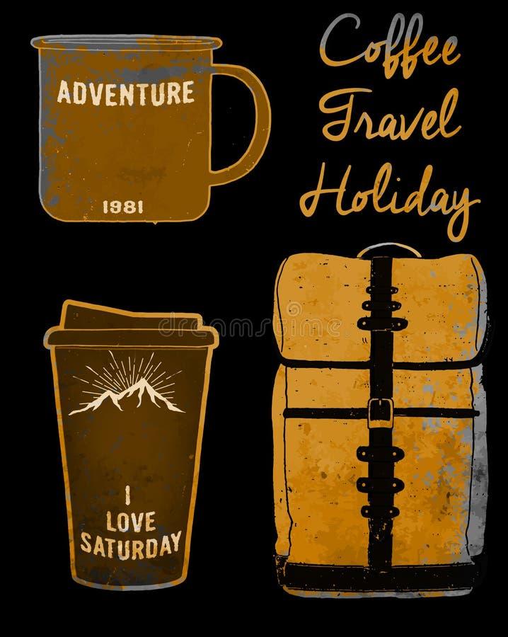 La taza y el bolso determinados de café del día de fiesta juntan con te estilo del vintage del diseño gráfico libre illustration