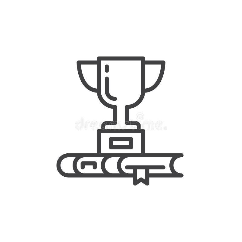 La taza y el libro del trofeo alinean el icono, muestra del vector del esquema, pictograma linear del estilo aislado en blanco stock de ilustración