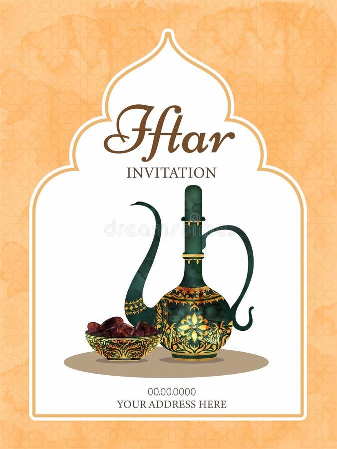 La taza y los dulces hermosos ruedan en el fondo blanco para la tarjeta de la invitación del partido de Iftar stock de ilustración