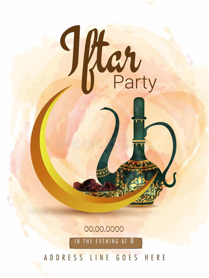 La taza y los dulces hermosos ruedan en el fondo de la acuarela para la tarjeta de la invitación del partido de Iftar stock de ilustración
