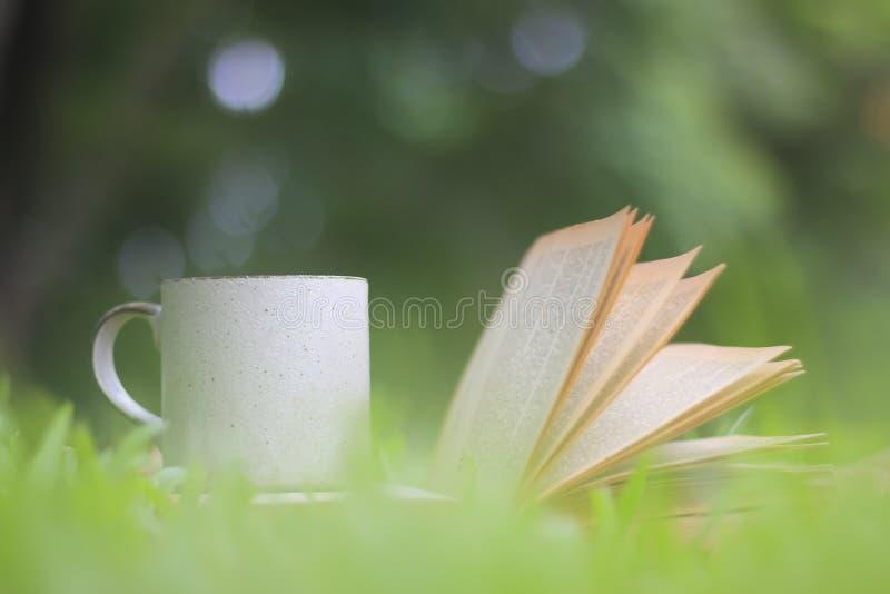 La taza y los libros de café en la hierba verde en verano parquean imagenes de archivo